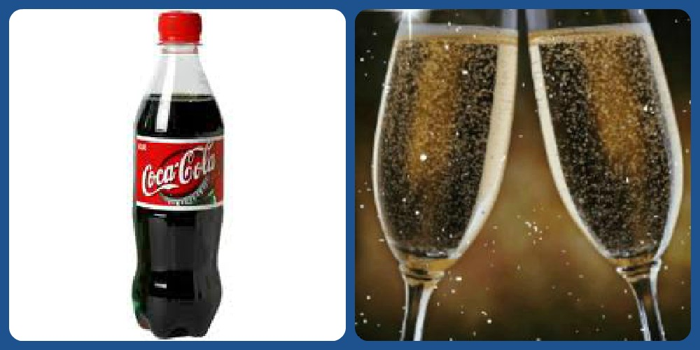 Theme Thursday: Blue/Champagne and Coca Cola